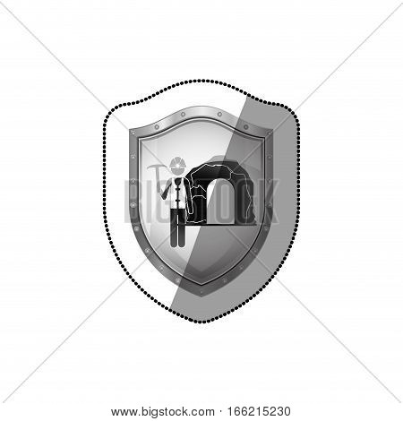 sticker shield with miner with pickaxe vector illustration