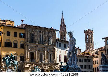 Buildings And The Fountain Of Neptune At The Piazza Della Signoria