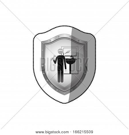 sticker shield with plumber with spanner in bathroom vector illustration