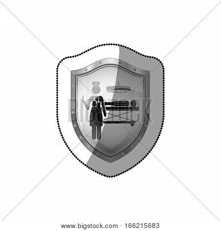 sticker shield with nurse in operations room with patient vector illustration