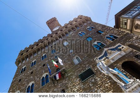 Exterior View Of The Palazzo Vecchio And Its Copy Of Michelangelos David Statue