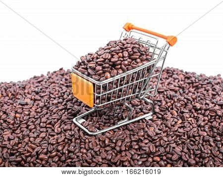 Shopping Cart Full Of Coffee Beans Of Coffee Background