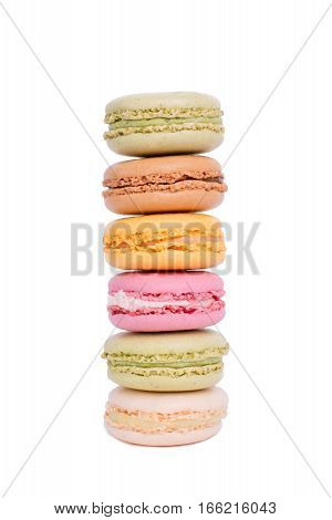 Sweet And Colorful Macaroons Tower Isolated On White Background