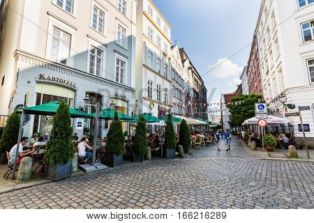 Exterior View Of Restaurants At The Deichstreet In The City Center Of Hamburg