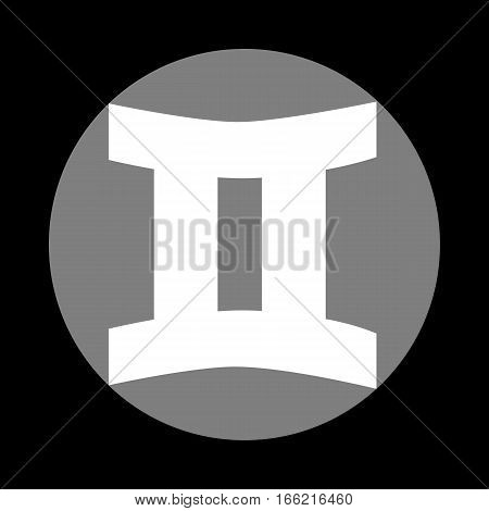 Gemini sign. White icon in gray circle at black background. Circumscribed circle. Circumcircle.