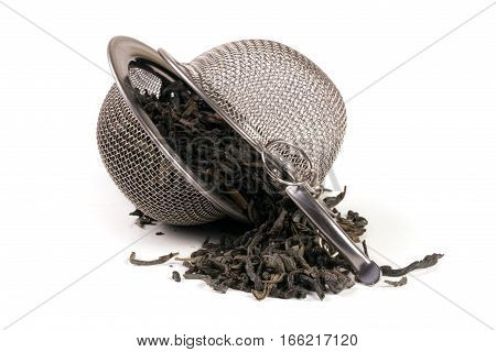 tea strainer on a chain isolated on white background.