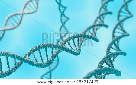 Dna Double Helix Molecules On Blue Background. 3D Rendered Illus