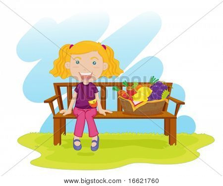 illustration of girl sitting on bench with fruit basket