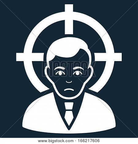 Victim Businessman vector icon. Flat white symbol. Pictogram is isolated on a dark blue background. Designed for web and software interfaces.