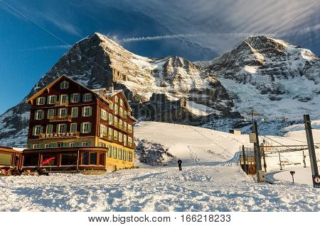 View Of The Ski Resort Jungfrau Wengen In Switzerland