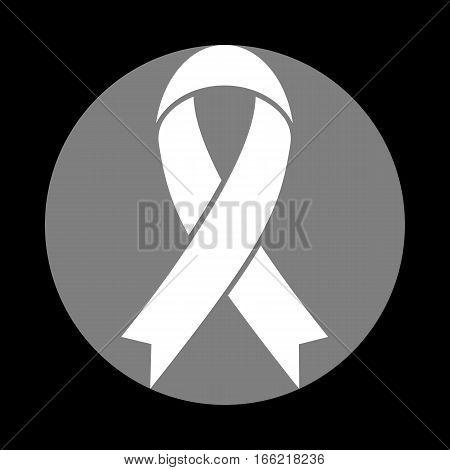 Black awareness ribbon sign. White icon in gray circle at black background. Circumscribed circle. Circumcircle.