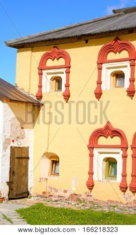 House cellarer - a two-storey outbuilding of the second half of the XVII century on the territory of the Kirillo-Belozersky Monastery Vologda region Russia.