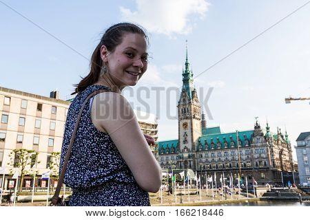 A Girl At The Kleine Alster In Hamburg