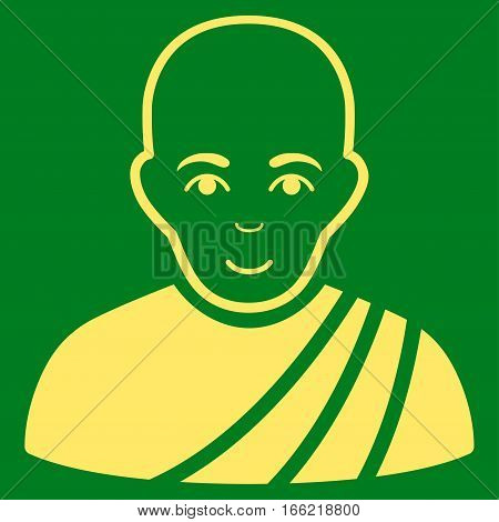 Buddhist Monk vector icon. Flat yellow symbol. Pictogram is isolated on a green background. Designed for web and software interfaces.
