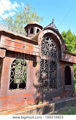 Old rusty crypt in Kirillo-Belozersky monastery by day near City Kirillov Vologda region Russia.