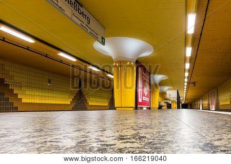 View Of The Empty Messberg Underground Station  In Hamburg
