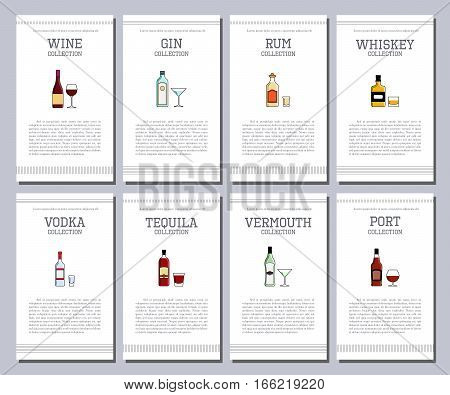 Vector Alcohol List With Icons For Bar Menu. Champagne Liquor Cognac Absinte Beer Sambuca Cider Bran