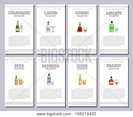 Vector Alcohol List With Icons For Bar Menu. Vodka Wine Whiskey Tequila Vermouth Gin Rum Port. Broch
