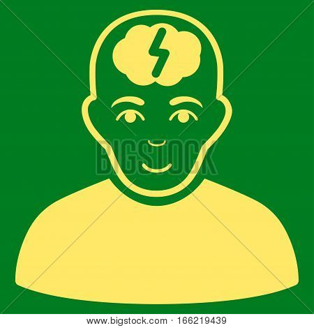 Clever Boy vector icon. Flat yellow symbol. Pictogram is isolated on a green background. Designed for web and software interfaces.