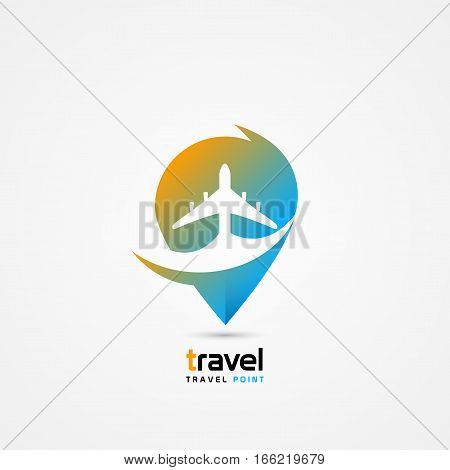 Travel point symbol in the colors of the sun and sky. Vector illustration