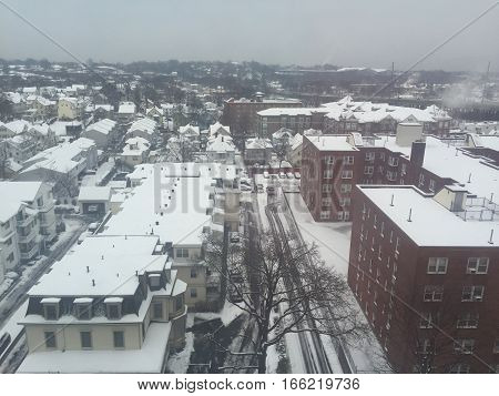 Snow in Stamford, Connecticut, in the USA