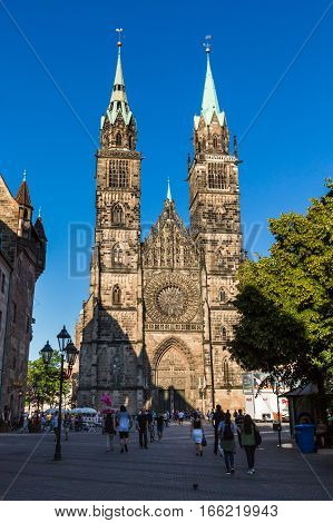 Exterior View Of St. Lawrence Church In The Old Town Part Of Nurnberg
