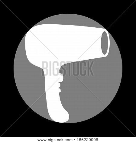 Hair Dryer sign. White icon in gray circle at black background. Circumscribed circle. Circumcircle.