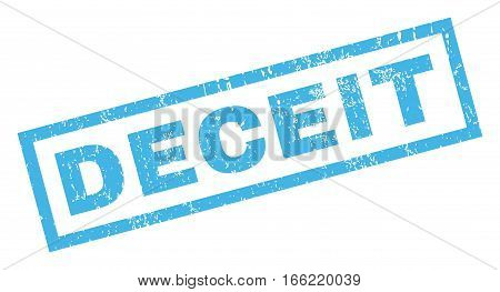Deceit text rubber seal stamp watermark. Caption inside rectangular banner with grunge design and dust texture. Inclined vector blue ink sticker on a white background.