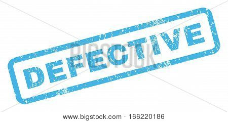 Defective text rubber seal stamp watermark. Tag inside rectangular shape with grunge design and unclean texture. Inclined vector blue ink sticker on a white background.