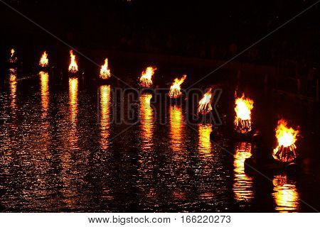 Bonfire ring at WaterFire in Providence, Rhode Island