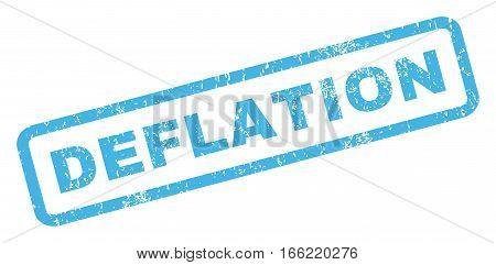 Deflation text rubber seal stamp watermark. Caption inside rectangular shape with grunge design and scratched texture. Inclined vector blue ink emblem on a white background.