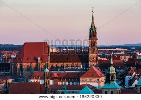 View Of St. Lorenz Church In The Old Town Part Of Nuremberg