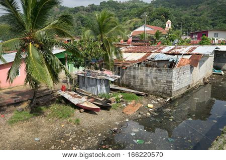 June 12 2016 Portobelo Panama: slums next to the tourist attraction of Fort Jeronimo