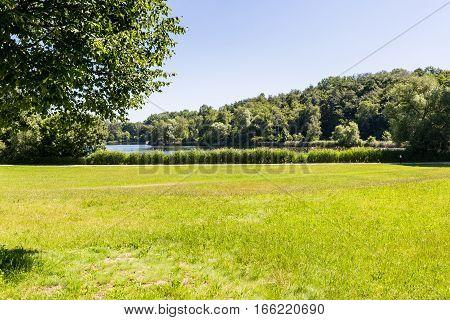 View of a natural park Volkspark Dutzendteich in Nuremberg Germany