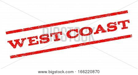 West Coast watermark stamp. Text caption between parallel lines with grunge design style. Rubber seal stamp with dirty texture. Vector red color ink imprint on a white background.