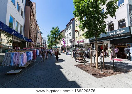 View Of The Shopping Street Karolinenstrasse In The Old Town Part Of Nuremberg