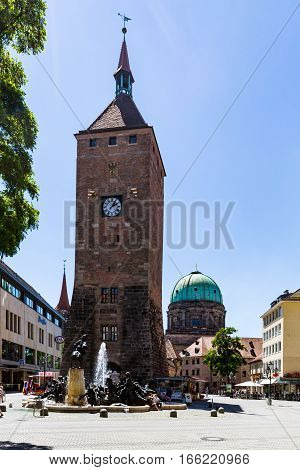 View Of The White Tower (weisser Turm) In The Old Town Part Of Nuremberg