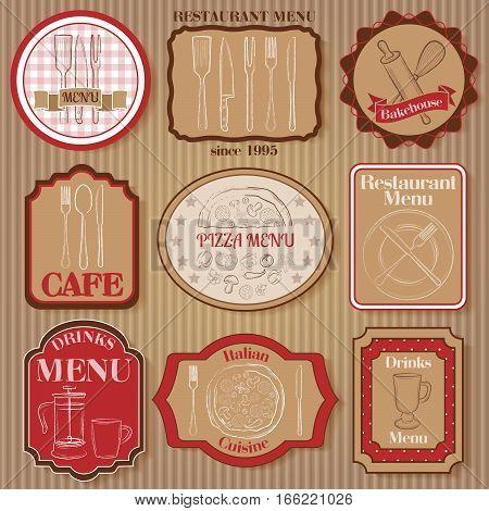Set of vintage restaurant badges on paperboard background vector illustration
