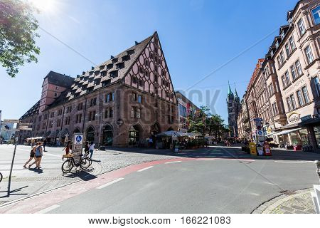 View Of The Mauthalle Building In The Old Town Part Of Nuremberg