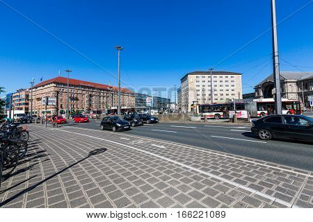 View Of Main Railway Station Square In The Old Town Part Of Nuremberg