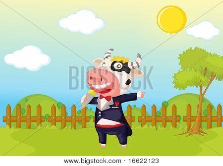 garden park illustration scene with singing cow poster