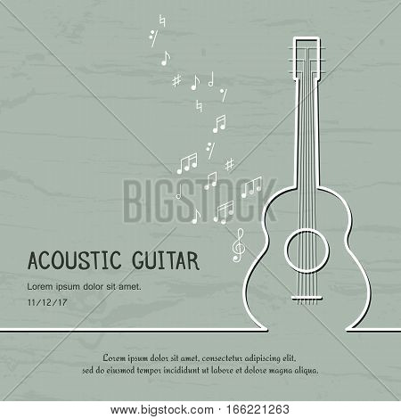 Abstract music acoustic guitar cover. Graphic vector poster illustration. Modern cute card line background. Sound concept. Invitation, packaging element
