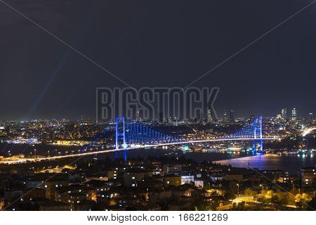 Sunset tine and Istanbul bosphorus bridge with lights