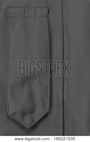 Black ECWCS Parka Rank Insignia Badge Loop Closeup, Blank Empty Vertical Apparel Background Copy Space, Front Placket Storm Flap, Large Detailed Macro