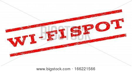 Wi-Fi Spot watermark stamp. Text caption between parallel lines with grunge design style. Rubber seal stamp with dust texture. Vector red color ink imprint on a white background.