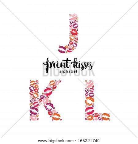 Set of letters J, K and L, made from print kisses, part of a complete alphabet collection for your writing or design
