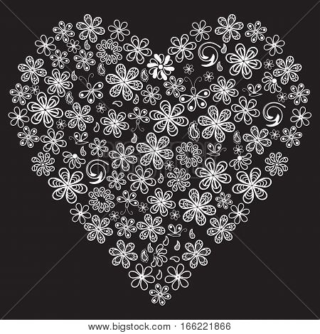 Love concept of lots of flowers in the shape of a heart on black background. Adult anti stress coloring page. Black and white illustration for coloring book.