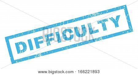Difficulty text rubber seal stamp watermark. Tag inside rectangular banner with grunge design and dirty texture. Inclined vector blue ink sticker on a white background.