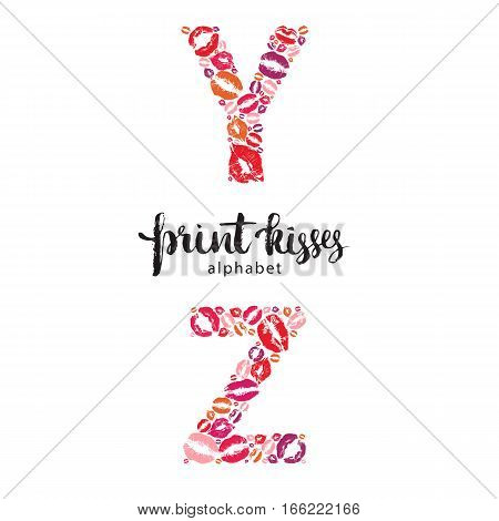 Set of letters Y and Z made from print kisses, part of a complete alphabet collection for your writing