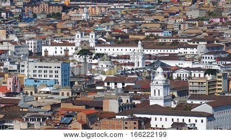 Quito, Pichincha / Ecuador - January 22 2016: Aerial view of the churches in historic center of the city of Quito. The historic center was declared by UNESCO the first Cultural Heritage on 1978